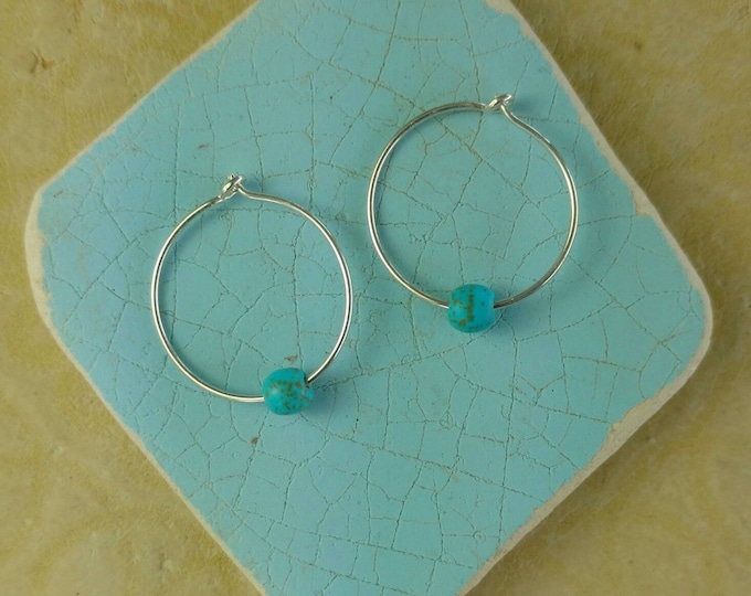 FULL CIRCLE Hoop Earrings in Sterling Silver with Blue Magnesite Beads, Yoga Inspired Jewelry, Sterling Silver Hoop Earrings