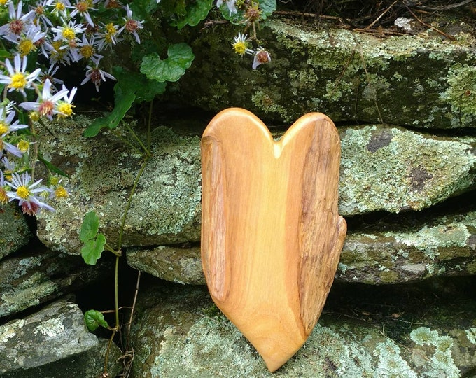 Tiny HEART of the HOME Wall Decor Carved in Fiddle Wood, Valentine's Day Gift, House Warming Gift, Wedding Gift, Rustic Home Decor, Wood Art