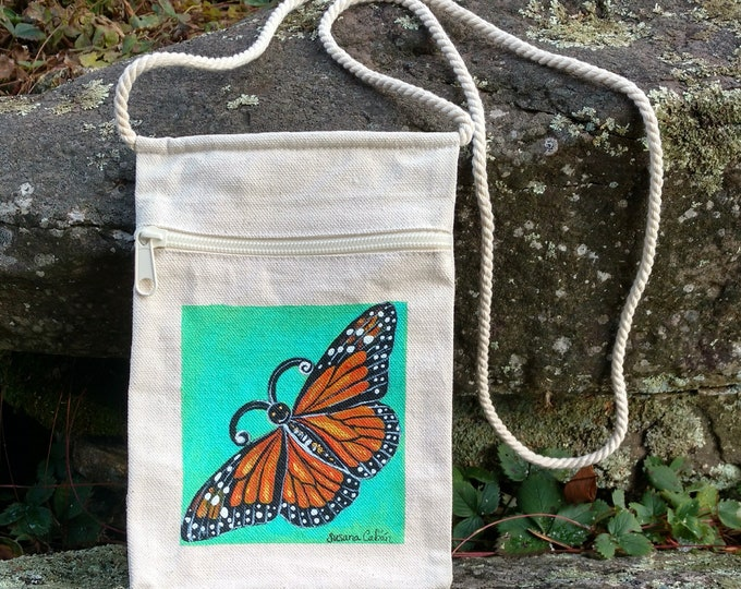 Happy Face Monarch Butterfly Purse, Hand Painted Orange Butterfly, Small Canvas Purse on a String with Zipper, Original Art by Susana Caban