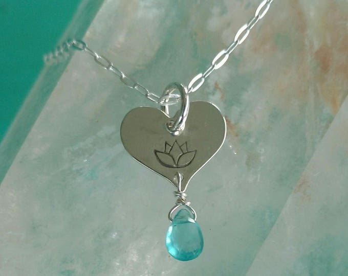 LOTUS LOVE Charm with Apatite, Lotus Flower Jewelry, Tiny Heart Necklace with Lotus in Sterling Silver, Yoga Inspired Jewelry (#053)