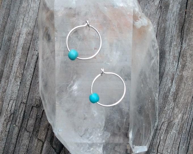 Tiny FULL CIRCLE Hoop Earrings in Sterling Silver with Blue Magnesite Beads, Yoga Inspired Jewelry, Sterling Silver Hoop Earrings