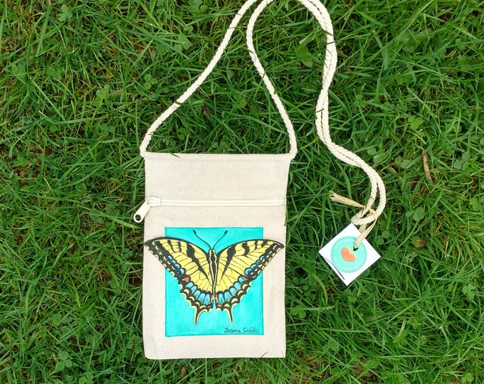 Yellow Tiger Swallowtail Butterfly Purse, Hand Painted Butterfly, Small Canvas Purse on a String with Zipper, Original Art by Susana Caban