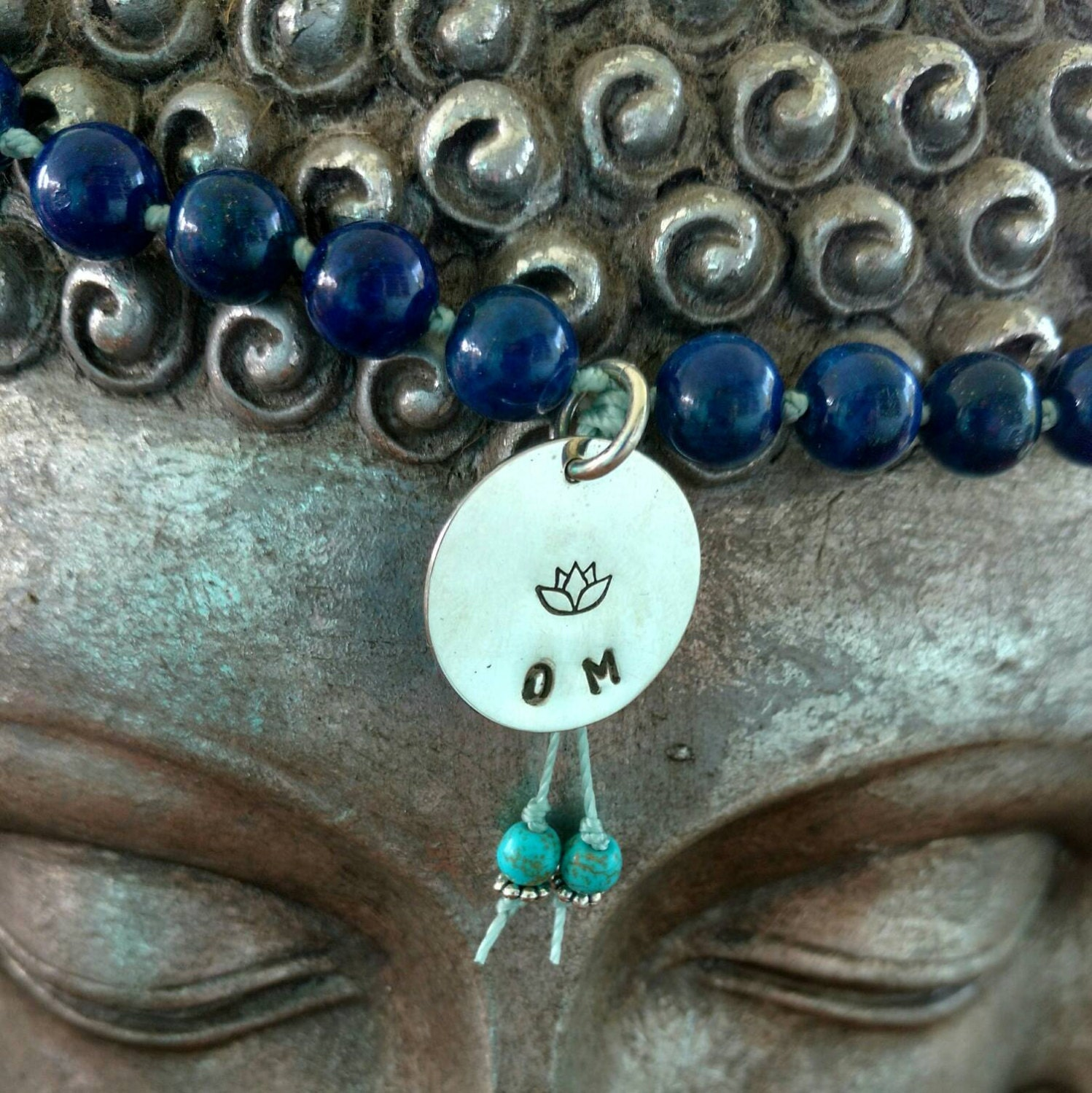 Blue Lapis Mala Bead Necklace With Sterling Silver Om Charm Lotus