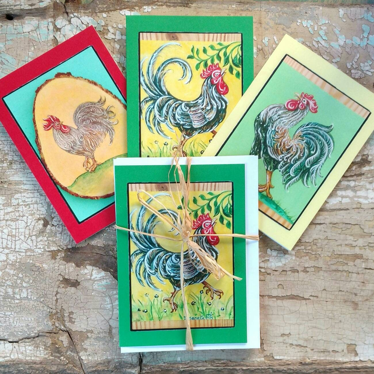 Tropical french rooster greeting card set of 3 different cards tropical french rooster greeting card set of 3 different cards designed by susana caban blank note cards farm house decor and gift m4hsunfo
