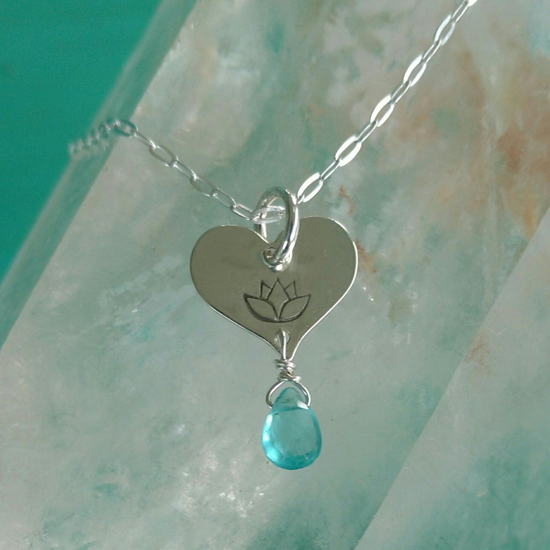 Lotus Love Charm With Apatite Lotus Flower Jewelry Tiny Heart