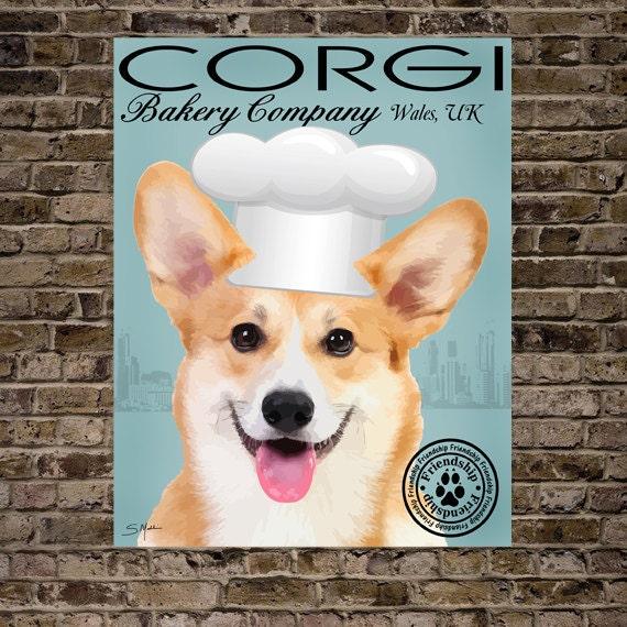 Cute Corgi Dog Art Digital Art Bakery Company Print Or Canvas Etsy