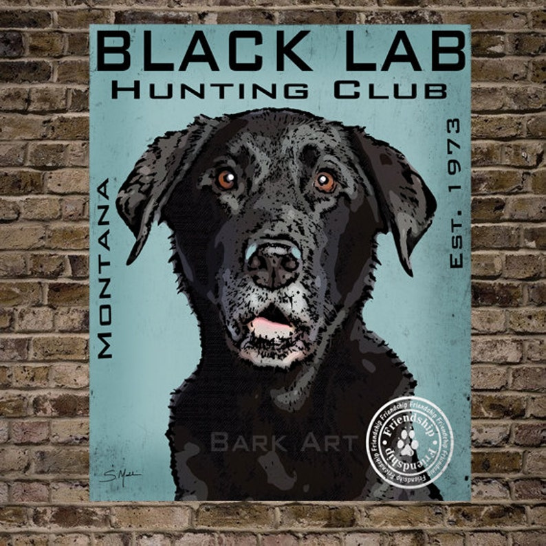 Black Labrador Dog Digital Art Hunting Club Print or Canvas