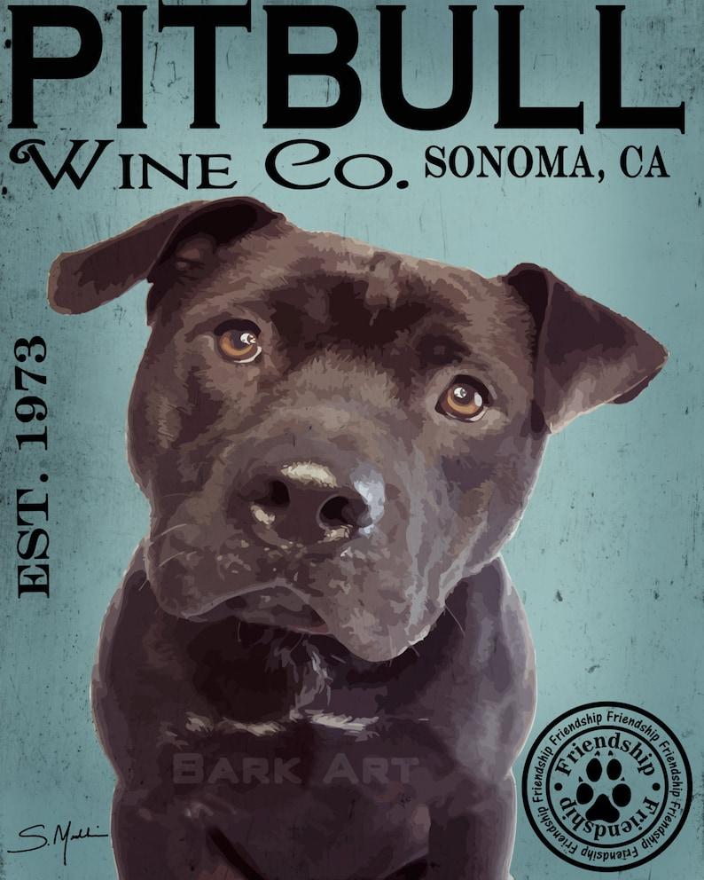 Print or Canvas Black Pit Bull Dog Digital Art Wine Co