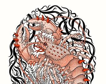 Lobster - Limited edition, handmade silkscreen print
