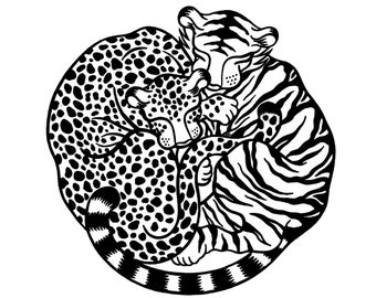 "100% donation to wild cat conservation group Panthera - ""Panthera Pair"", limited edition, handmade silkscreen print (black & white)"