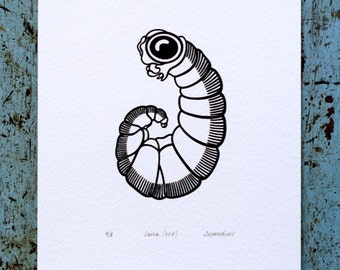 Larva 'specimen' (noir) - Limited edition one-colour screenprint