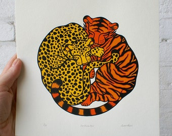 100% donation to wild cat conservation group Panthera - 'Panthera Pair', handmade, signed and editioned silkscreen print  (three colour)