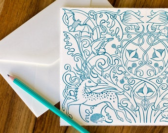 Forest Fauna greeting card – handmade silkscreen-printed greeting card with envelope