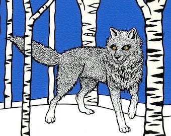 Greeting card 'Wolf in Woods' – handmade, silkscreen-printed greeting card with envelope