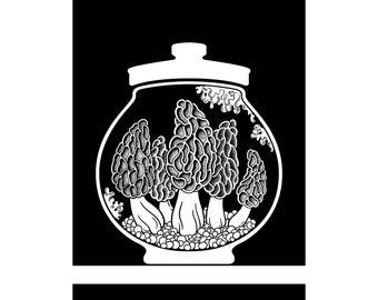 Curiosity Cabinet Series 4, No.1 (Morel) - Limited edition, handmade silkscreen print