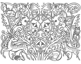 Forest Fauna - Limited edition, handmade silkscreen print (black on white)