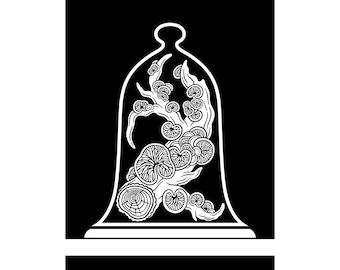 Curiosity Cabinet Series 4, No.4 (Crepidotus) - Limited edition, handmade silkscreen print
