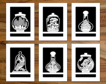Curiosity Cabinet Series 4 (Mushrooms) - Complete set of six limited edition, handmade silkscreen prints