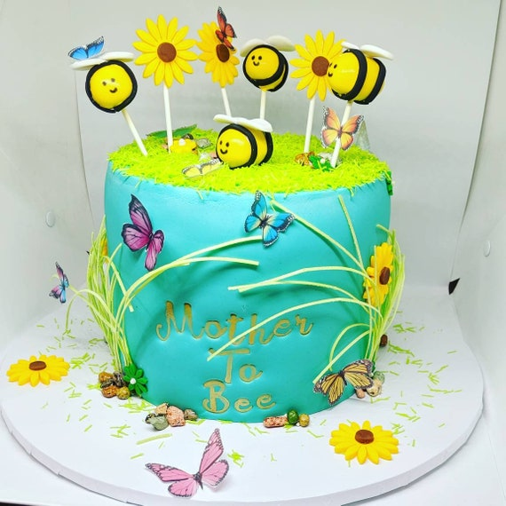 Peachy Mother To Bee Baby Show Cake Etsy Funny Birthday Cards Online Necthendildamsfinfo