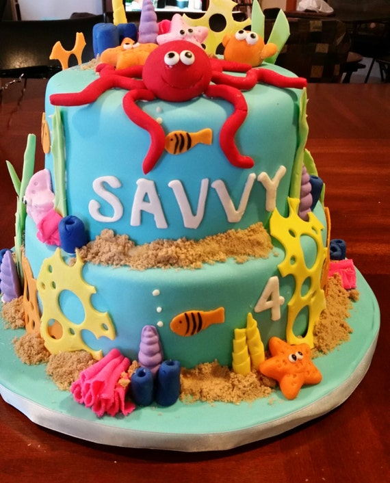 Awe Inspiring Under The Sea Birthday Cake Etsy Funny Birthday Cards Online Overcheapnameinfo