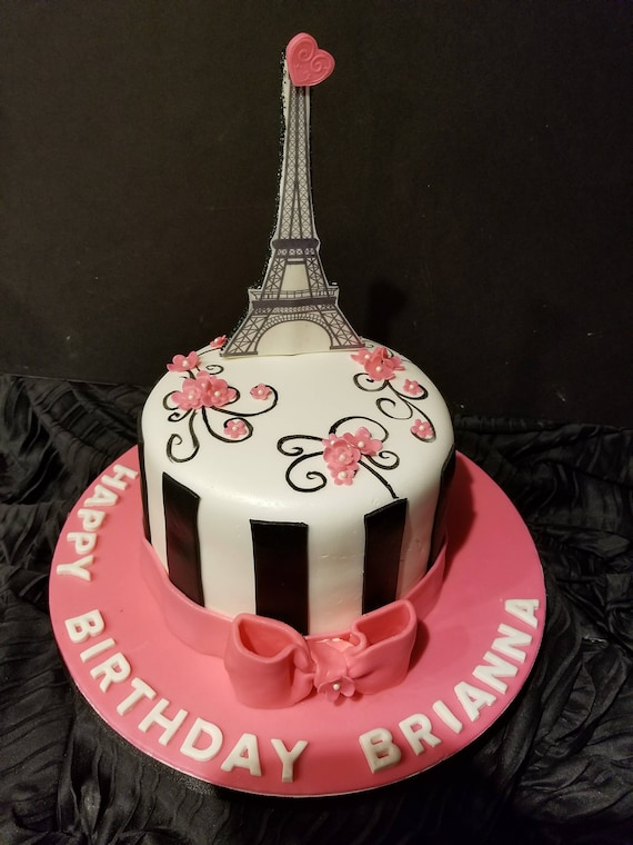 Amazing Paris Birthday Cake Etsy Birthday Cards Printable Opercafe Filternl
