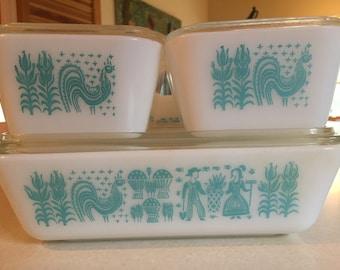 SALE 8 Piece Pyrex Bakeware - Butterprint Spacesaver Refrigerator Set - Turquoise - Milk White -  Ribbed Glass Lids - Retro