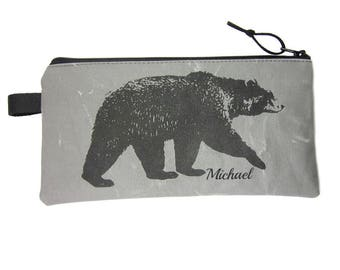 Bear Pencil Case, Personalised  Pencil Bag, Bear Zipper Pouch, Grey Canvas, Bear Gift