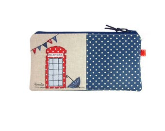 London Pencil Case, Telephone Box Zip Pouch, Personalised Kids Pencil Bag