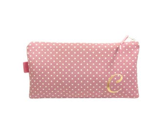 Pencil Case for Girl, Pink Zipper Pouch, Personalised Monogram Pouch, Makeup Bag