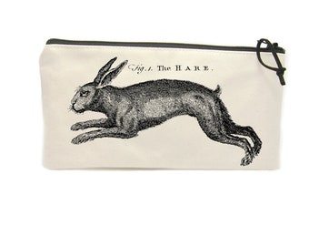 Hare Pencil Case, Woodland Animal Gifts, Rabbit Zipper Pouch, Personalised Pencil Bag