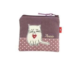 Cat Coin Purse, Small Zipper Pouch, Cat Lover Gift, Loose Change Pouch, Personalised
