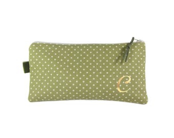 Personalised Zip Pouch, Polka Dot Pencil Case, Monogram Gift