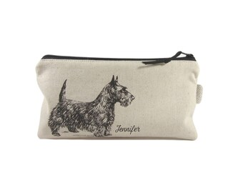Scottie Dog Pencil Case, Dog Zip Pouch, Personalised Dog Lover Gift, Flat Pencil Bag