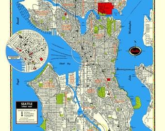 Seattle Washington Archival Print Giclee 1950 Vintage Map Etsy