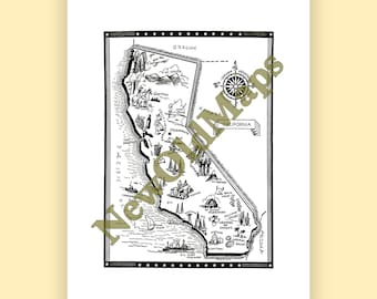 Yosemite map art etsy california vintage 1960s illustrated map digital download state wall art do it yourself color arrange modify adjust to suit or not solutioingenieria Image collections