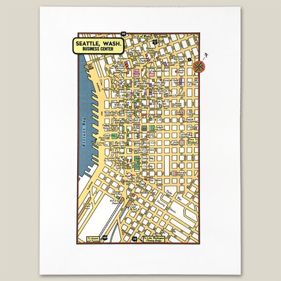 Seattle Washington Archival Print Giclee 1950 Vintage Map Theaters Stores  Banks Puget Sound Elliott Bay Pike Place Market Capital Hill