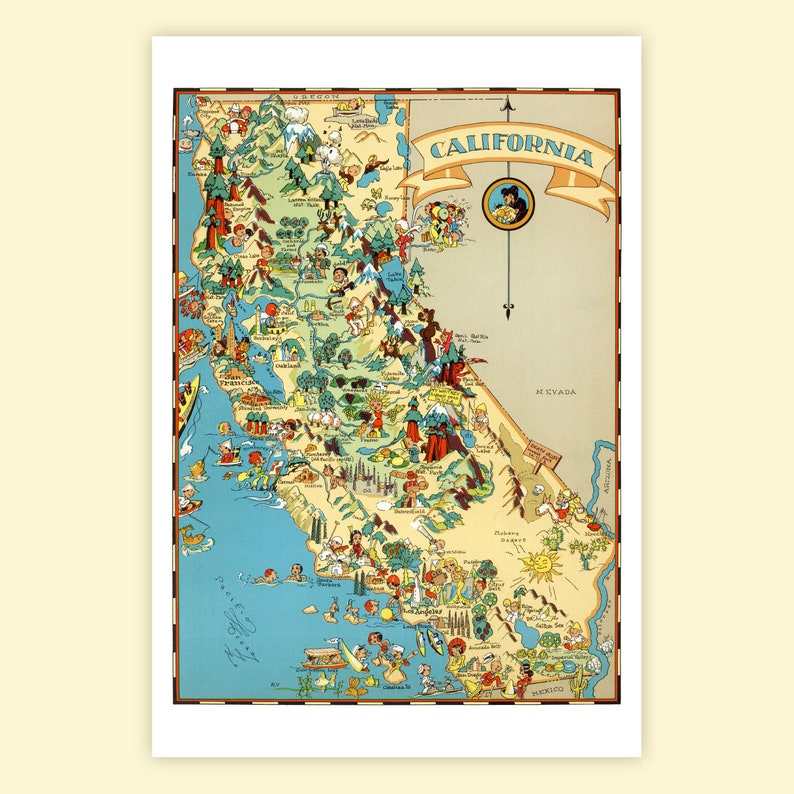 California POSTCARD 6-Pack Vintage 1930s Illustrated Map | Etsy on