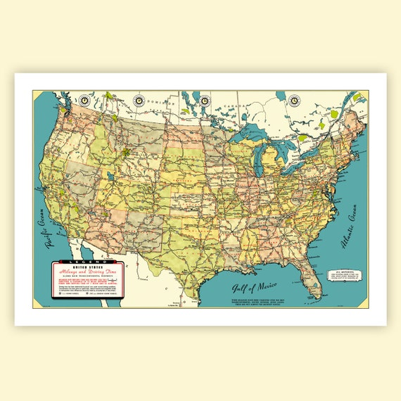 US Mileage and Driving Times Map from 1940s original Archival Giclee Print  US Highways in the Lower 48 Coast to Coast