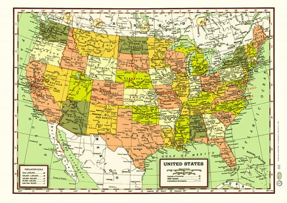 United States 1950s Map Poster Vintage Cities States Rivers Time Zones  Atlantic Pacific New York Los Angeles California Texas Canada Mexico