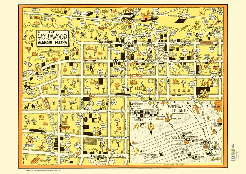 Map Of California La.Hollywood 1940s California La Downtown Map Poster Vintage Cartograph Movie Studio Sunset Santa Monica Boulevard Vine Brown Derby Wilshire