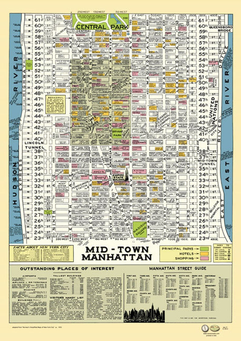 Map Of New York Rockefeller Center.Midtown Manhattan New York 1950 Map Poster Vintage Stores Hotels Theaters Parks Times Square Empire State Bldg Rockefeller Center Broadway