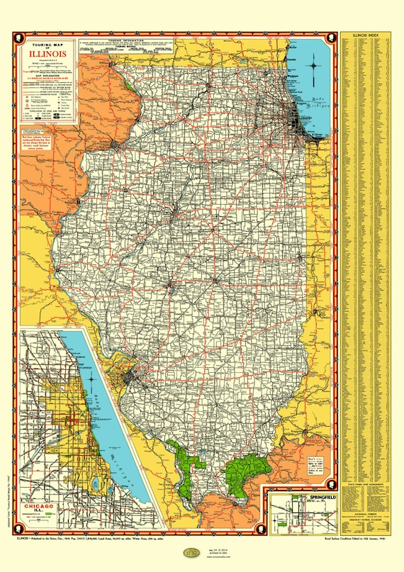 Illinois Road Map 1940 Poster Vintage Chicago Inset Lake Michigan  Springfield Rt 66 Index Land of Lincoln Highway St Louis Gary Texaco MO IA