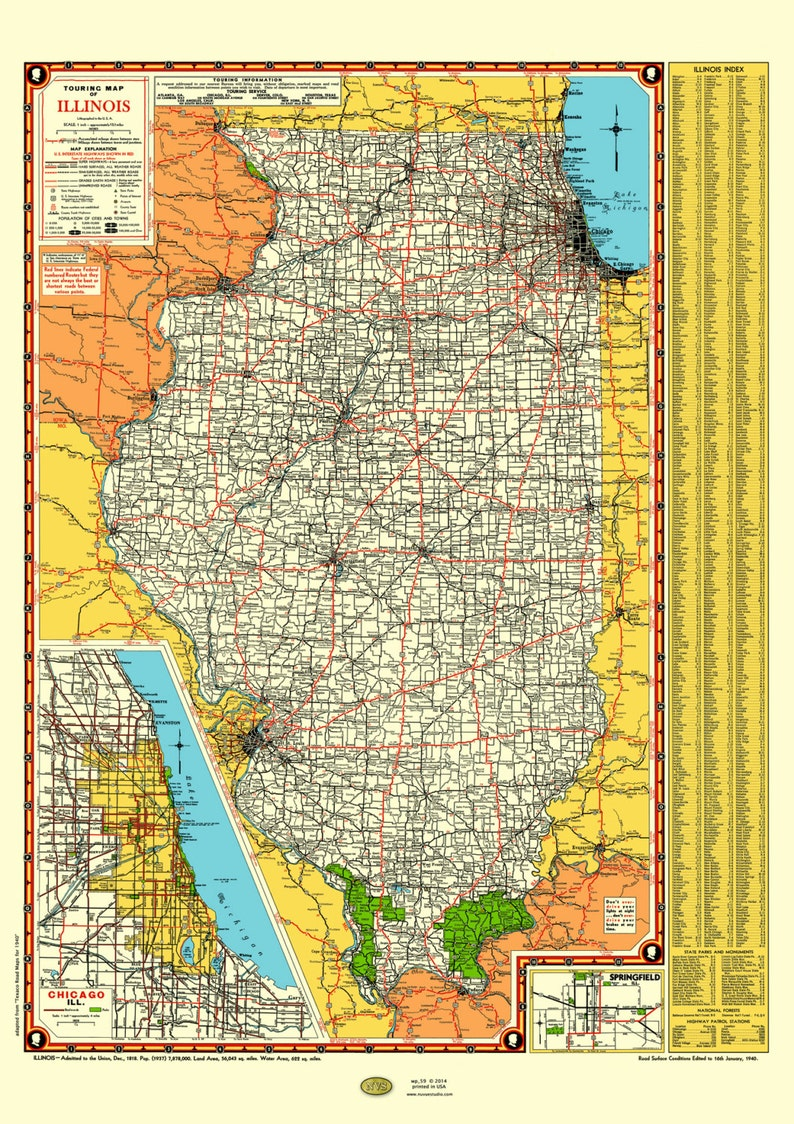 Illinois Road Map 1940 Poster Vintage Chicago Inset Lake Etsy