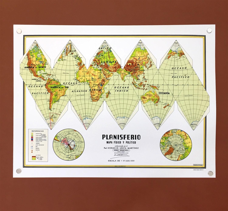 Planisferio Earth Paper Craft Too Vintage Mexico City School
