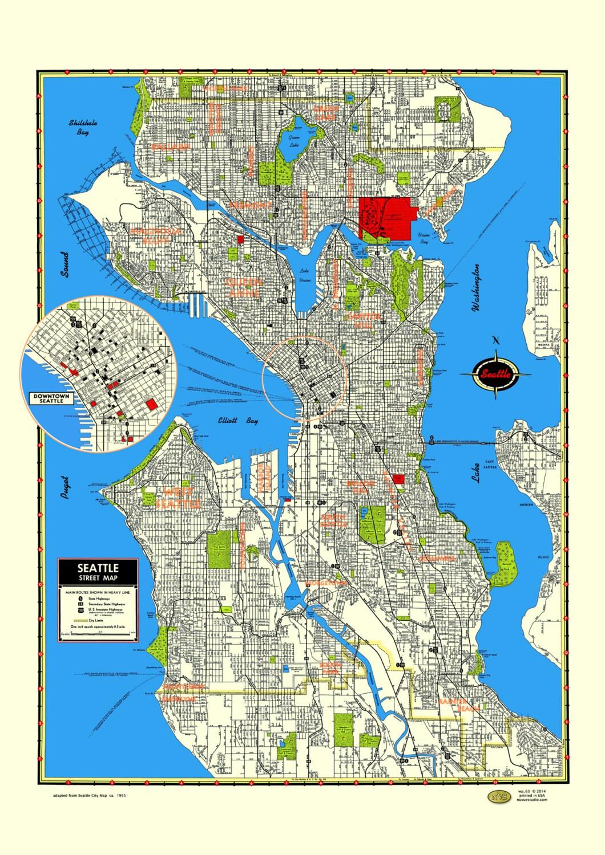 seattle map poster washington puget sound queen anne ballard | etsy