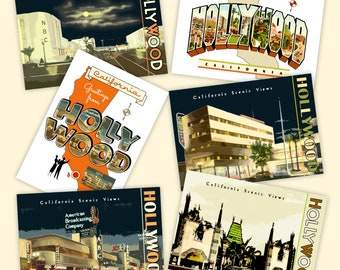 Hollywood POSTCARD 6-Pack Vintage Design NBC CBS Chinese Theater Hollywood Boulevard Large Letter California
