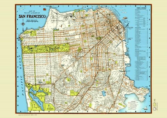 San Francisco 1940 Map Poster Vintage Street Golden Gate | Etsy