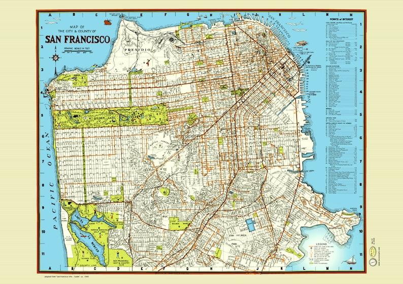 San Francisco 1940 Map Poster Vintage Street Golden Gate Etsy