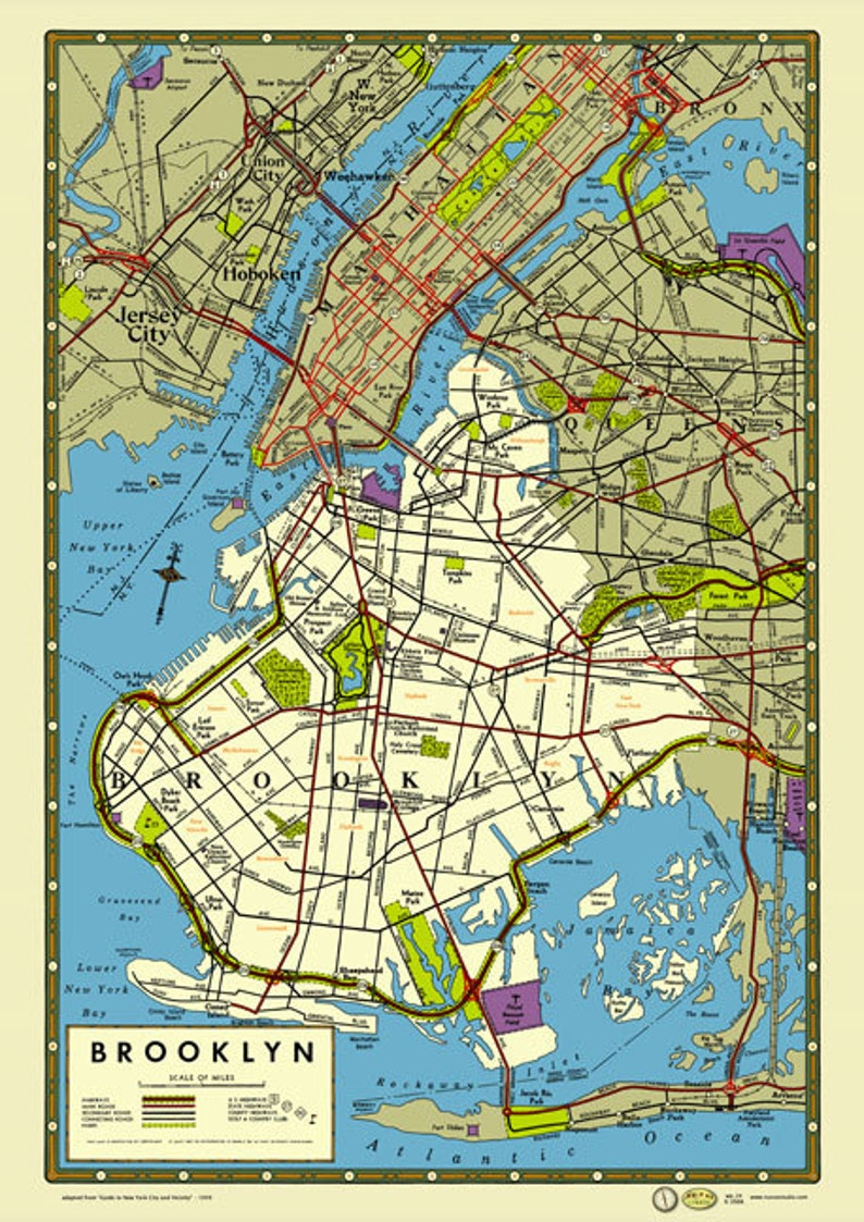 Map Of New York Jamaica.Brooklyn New York 1949 Map Poster Vintage Prospect Park Ebbets Etsy