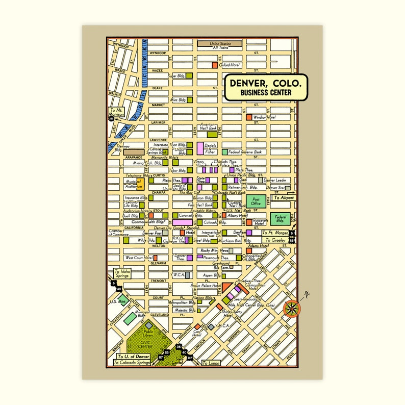 Denver Colorado POSTCARD 6-Pack Vintage 1950s City Map Theaters Hotels  Stores Government